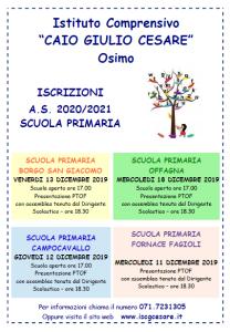 VOLANTINO iscrizioni 2020-2021, presentazione PTOF e open day - primaria